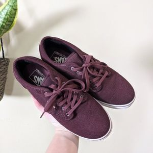 VANS Maroon Knit Canvas Lace up Sneakers Size 8